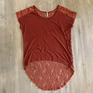 Free People Orange Lace Striped Top Blouse M. NN